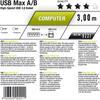Oehlbach 9221 - USB Max A/B 300 - USB-3.0-Cable, A to B (1 pc / 3 m / gray)