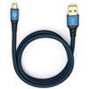 Oehlbach 9333 - USB Plus Micro 300 - USB 2.0 cable for mobile entertainment (1 x USB-A to 1 x USB-Micro B / 3.0 m / blue/black)