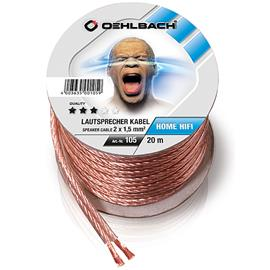 Oehlbach 105 - Speaker Wire SP-15 2000 - Loudspeaker cable flexible Mini-coil (20m / transparent / copper / 2 x 1,5qmm)