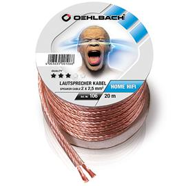 Oehlbach 106 - Speaker Wire SP-25 2000 - Loudspeaker cable flexible Mini-coil (20m / transparent / copper / 2 x 2,5qmm)