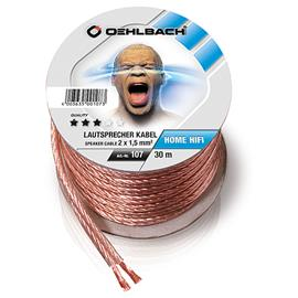 Oehlbach 107 - Speaker Wire SP-15 3000 - Loudspeaker cable flexible Mini-coil (30m / transparent / copper / 2 x 1,5qmm)