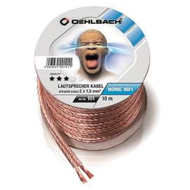 Oehlbach 101 - Speaker Wire SP-15 1000 - Loudspeaker cable flexible Mini-coil (10m / transparent / copper / 2 x 1,5qmm)