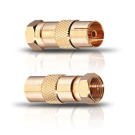Oehlbach 4402 - Antenna AD F - F-Plug Adapter male on female (2 pcs / gold)