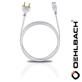 Oehlbach 17049 - Powercord C 7 - Mains cable with flat europlug(1 pc / 1,5 m / white)