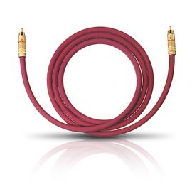 Oehlbach 20543 - NF 214 Sub - Subwoofer cinch cable 1 x RCA to 1 x RCA (3,0 m / bordeaux red/gold / 1 piece)