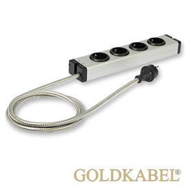 Goldkabel 822457 - POWERLINE MK II 4er power strip (1 piece / 1,5 m / black/silver)
