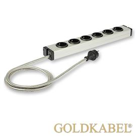 Goldkabel 822458 - POWERLINE MK II 6 x power strip (1 piece / 1,5 m / black/silver)