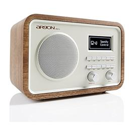 ARGON iNet2+ - internet radio + music streamer (combined digital iNet, DAB+ and FM stereo desktop radio / walnut real wood veneer with a beige front / OLED display)