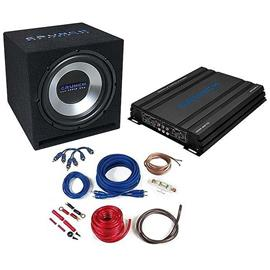CRUNCH CBP1000 - 1000 Watt basspack - car hifi bass system complete set (package consisting of 1 x amplifier Crunch GPX1000.4, 1 x subwoofer Crunch GPX350, 1 x cable set Crunch GPX10WK)