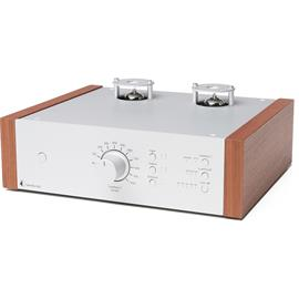 Pro-Ject Tube Box DS2 - tube phono preamplifier (MM/MC / silver case with wooden side panels made of rosenut)