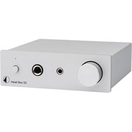 Pro-Ject Head Box S2 - micro high end headphone amplifier (Hi-Res / with 6.35 mm and 3.5 mm headphone outputs / + RCA loop output / silver)