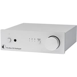 Pro-Ject Pre Box S2 Analogue - stereo line preamplifier (with 3 high level inputs / + SMD technology / incl. IR remote control / silver)