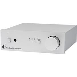 Pro-Ject Pre Box S2 Analogue - Stereo Line Vorverstärker (mit 3 Hochpegel-Eingängen / + SMD Technologie / inkl. IR Fernbedienung / silber)