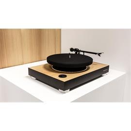 MAG-LEV Audio ML1 WOOD - schwebender Plattenspieler (Weltneuheit / 33 & 45 U/min / Pro-Ject 9cc Carbon Tonarm / Ortofon OM10 Tonabnehmer / Eschenholz Optik)