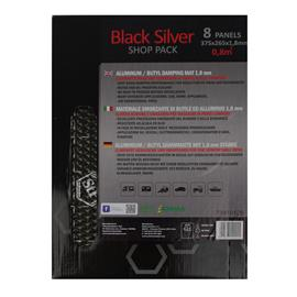 STP BLACK SILVER - damping mats made of self-adhesive alubutyl = aluminum + butyl (SHOP PACK = 265 mm x 375 mm x 1,8 mm / 0.8 m² / 8 pieces)