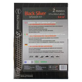 STP BLACK SILVER - damping mats made of self-adhesive alubutyl = aluminum + butyl (SPEAKER KIT = 265 mm x 375 mm x 1,8 mm / 0.2 m² / 2 pieces)