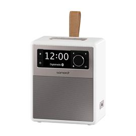 Sonoro Easy - portable music system and digital radio (FM/DAB/DAB+ / BT / USB / MP3 / LED night lamp / with leather strap / white)