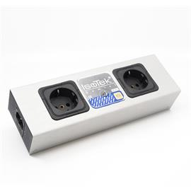 IsoTek Gemini - 2-way power strip / 2-way-socket outlet (perfect for any hi-fi or AV system /  incl. unique delta filter arrangement / black/silver / 1 piece)