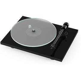 Pro-Ject T1 BT - record player incl. tonearm + Ortofon MM cartridge OM 5E (high gloss black / incl. phono cable / incl. dust cover)