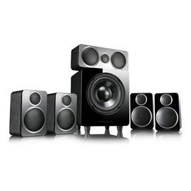 Wharfedale DX-2 5.1 HCP - home cinema surround system (5.1 speaker set with 4 satellites, 1 center, 1 sub / all in black = black leather finish)