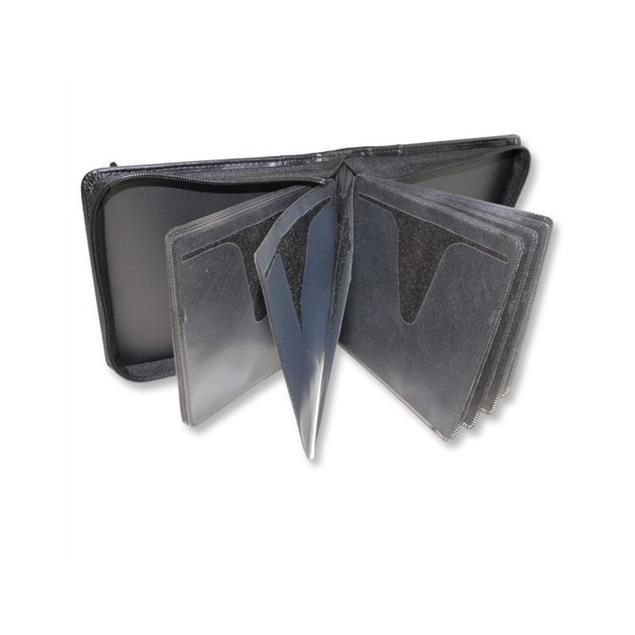 Leather CD/DVD - protective case (15,5cm x 16,2cm x 4,5cm / for 28 CDs/DVDs / black)