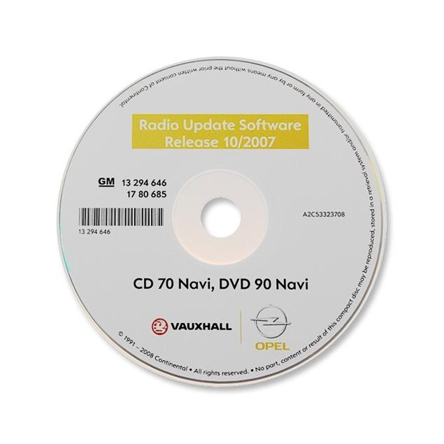 Operating software - Navigation / Radio software update for Opel Navi CD70 / DVD90 (as of 10/2007)
