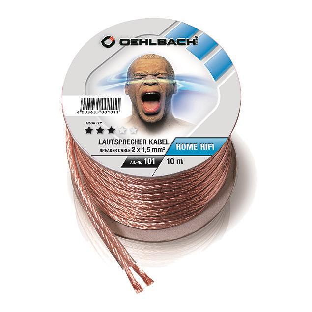 Oehlbach 101 - Speaker Wire SP-15 1000 - Loudspeaker cable flexible Mini-coil (10m / transparent / copper / 2 x 1,5qmm)