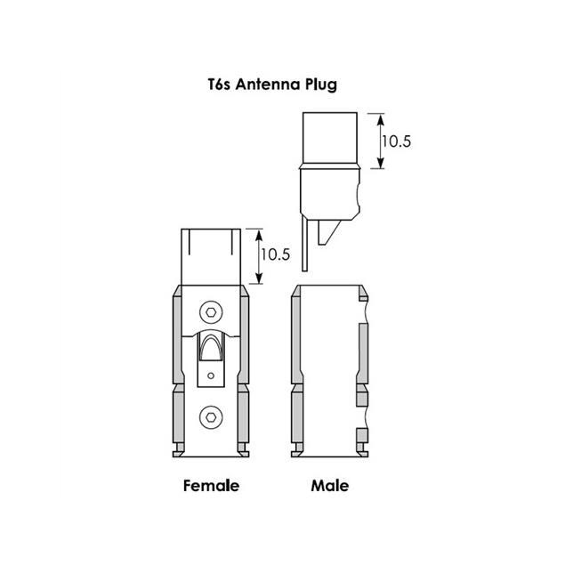 ViaBlue 30906 - T6s - Antenna plug (2 pcs / gold plated)