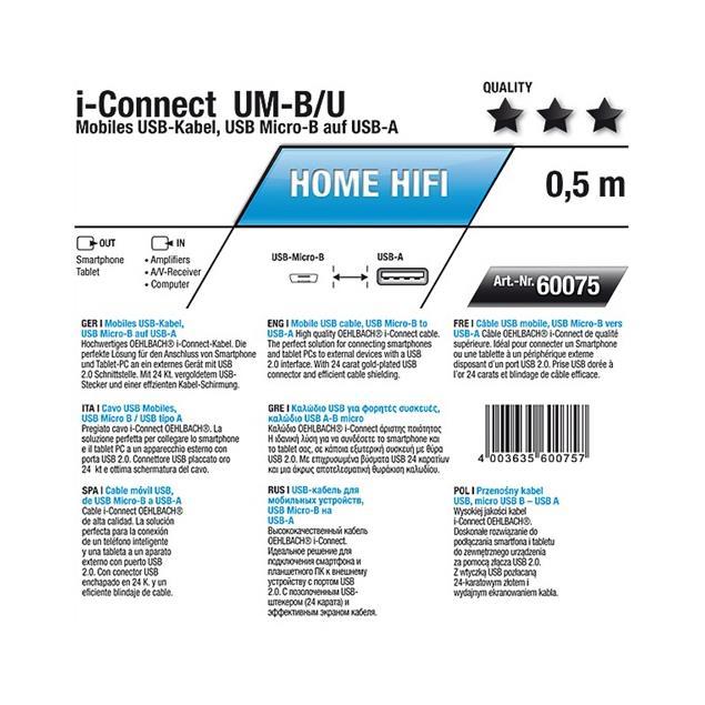 Oehlbach 60075 - i-Connect UM-B/U - Mobiles USB-Kabel,1 x  USB Micro-B to 1 x USB-A (1 pcs / 0,5 m / black)