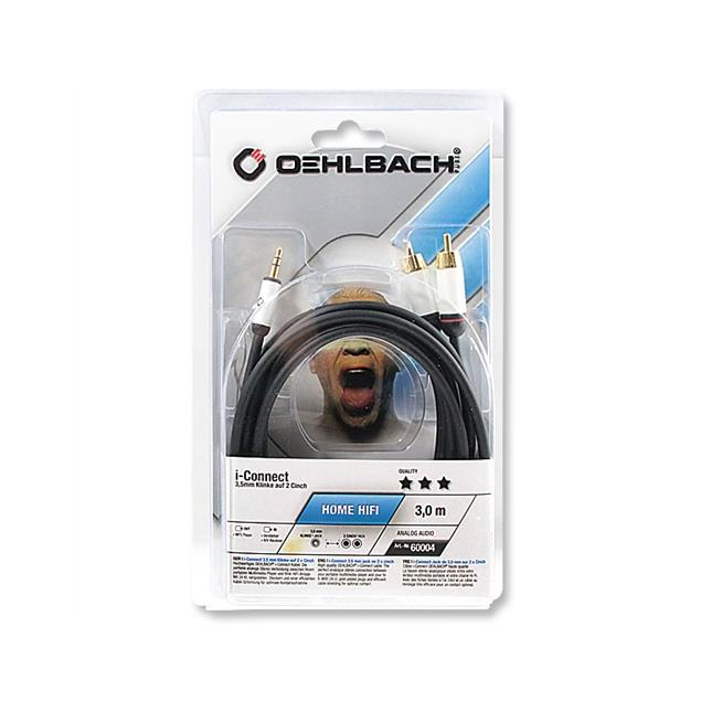Oehlbach 60004 - i-Connect J-35/R - Mobile audio cable, 1 x 3,5 mm Jack to 2 x RCA (1 Stück / 3,0m / black)