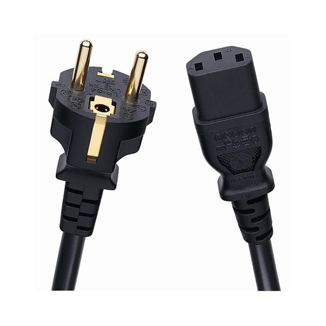 Oehlbach 17040 - Powercord C 13 - mains cable with safety plug and iec cord connector (1 pc / 1,5 m / black)