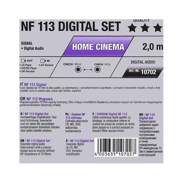 Oehlbach 10702 - NF 113 DI - digital audio RCA cable (1 x RCA to 1 x RCA / 2.0 m / blue/gold)