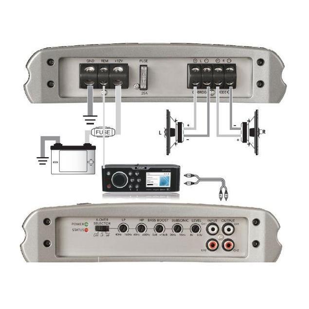 FUSION MS-AM402 - Marine 2 Channel Amplifier (400 Watts / silver)