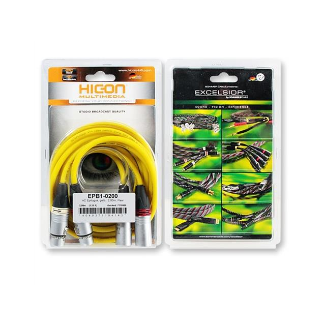 Sommer Cable - HICON EPB1-0200 - EPILOGUE Series -  LF-phono cable 2 x XLR Male auf 2 x XLR Female  (2 pc / 2,0 m / silver/yellow)