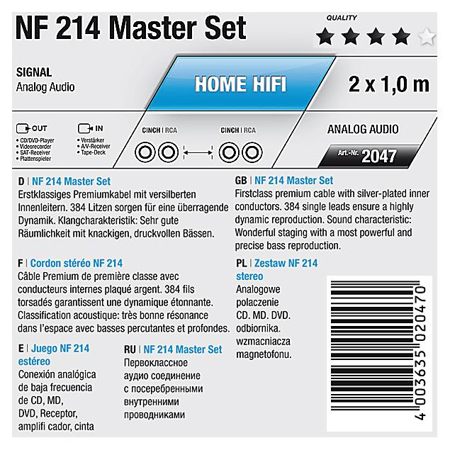 Oehlbach 2047 - NF 214 Master - LF audio cinch cable 1 x RCA to 1 x RCA  (2 piece / 2 x 1,0 meter / anthracite/gold)