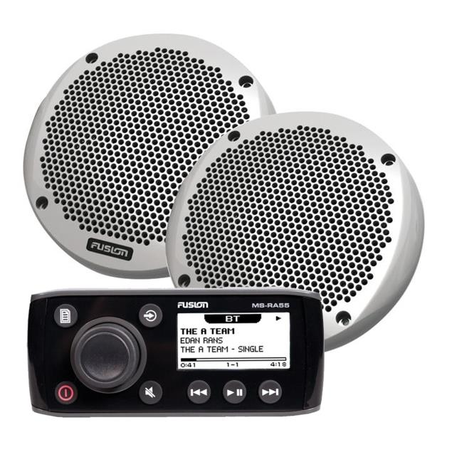 FUSION MS-RA55KTS - compact marine stereo system & 2-way loudspeaker pack (Bluetooth A2DP / 180 Watts / AM / FM / AUX / black)
