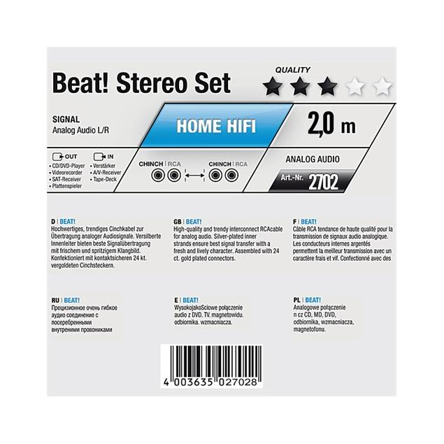 Oehlbach 2702 - Beat! Stereo Set - Audio cable 2 x RCA to 2 x RCA  (1 piece / 2 meter / blue/gold)