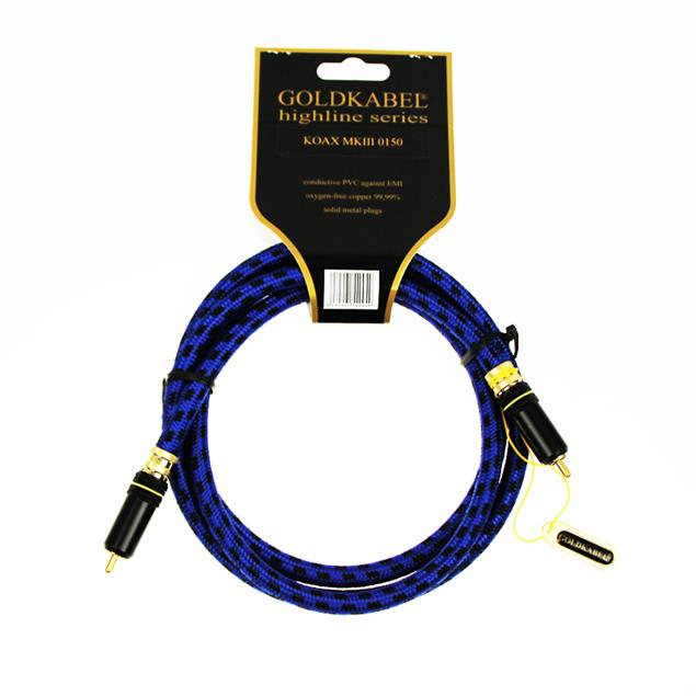 Goldkabel 71259 - Highline Koax 0150 - Audio cable 1 x RCA to 1 x RCA (1 pc / 1,5 m / black/blue)