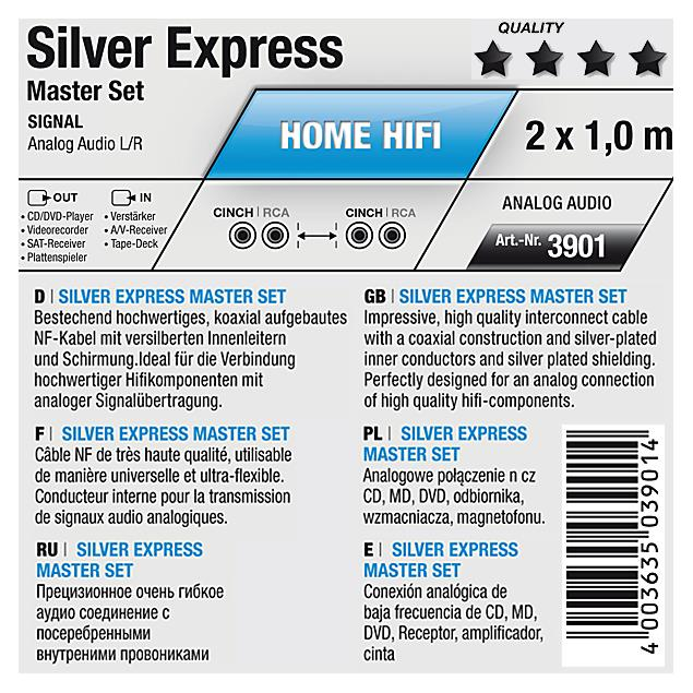 Oehlbach 3901 - Silver Express - Audio cable 2 x RCA to 2 x RCA (1 pieces / 1,0 m / silver)