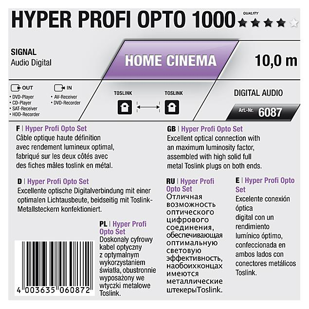 Oehlbach 6087 - Hyper Profi Opto 1000 - Optical digital cable 1 x Toslink to 1 x Toslink (1 pc / 10,0 m / black/gold)