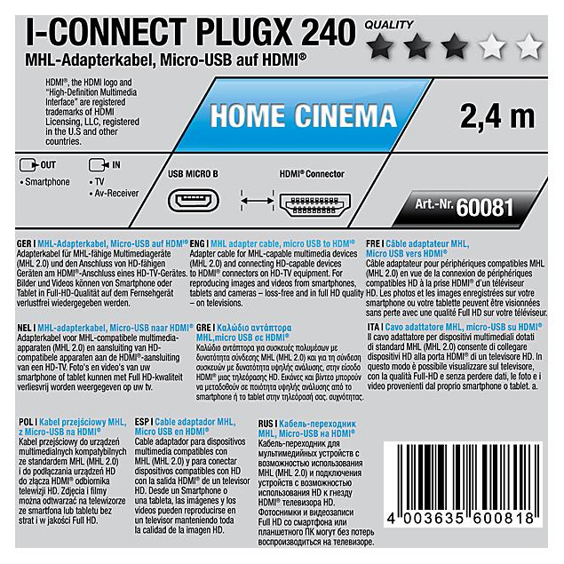 Oehlbach 60081 - i-Connect PlugX - MHL adapter cable 1 x HDMI to 1 x USB Micro-B ( 1 pc / 2,4m / red )