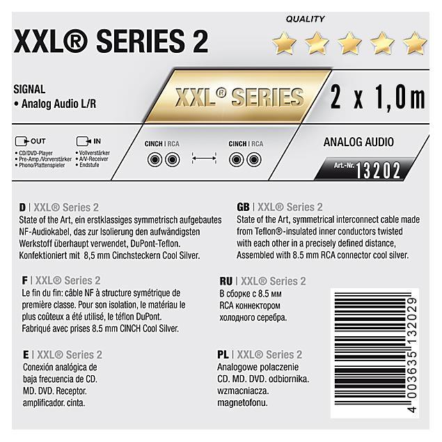 Oehlbach 13202 - Oehlbach XXL-2 Cool Silver - 2x Audio cable 1 x RCA to 1 x RCA (1,0 m / black/gold)