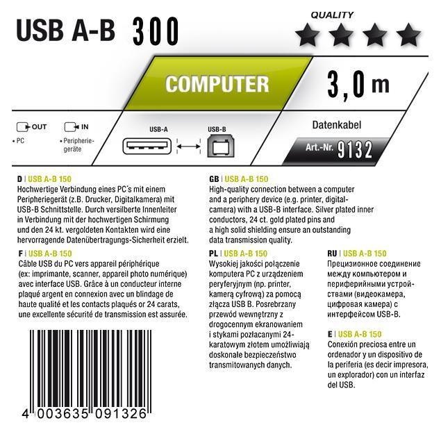 Oehlbach 9132 - USB A/B - USB 2.0 cable A to B (1 pc / 3,0 m / black)