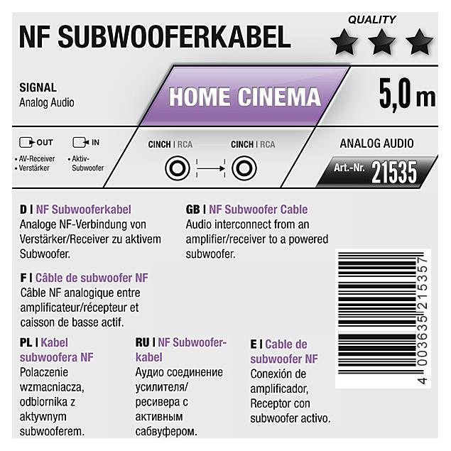 Oehlbach 21535 - NF Sub 500 - subwoofer cinch cable 1 x RCA to 1 x RCA  (5,0 m / black/gold)