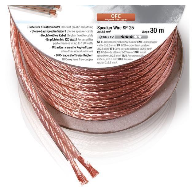 Oehlbach 108 - Speaker Wire SP-25 3000 - Loudspeaker cable flexible Mini-coil (30m / transparent / copper / 2 x 2,5qmm)