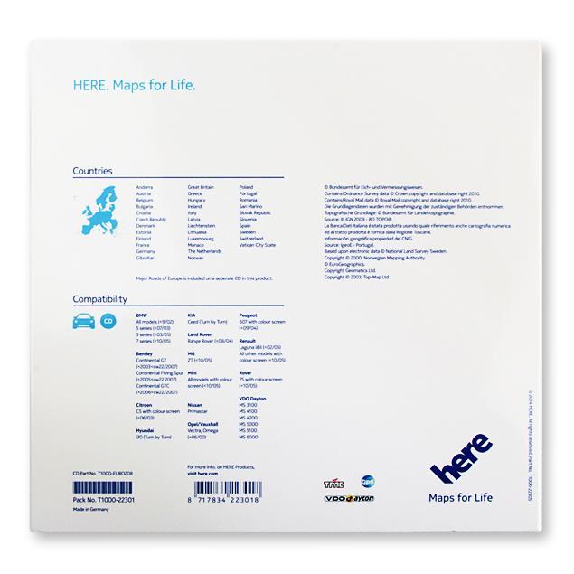 VDO-Dayton/Navteq (Here) - Europe - T1000-22301 - VDO Dayton non CIQ (13 CD) 2014/2015