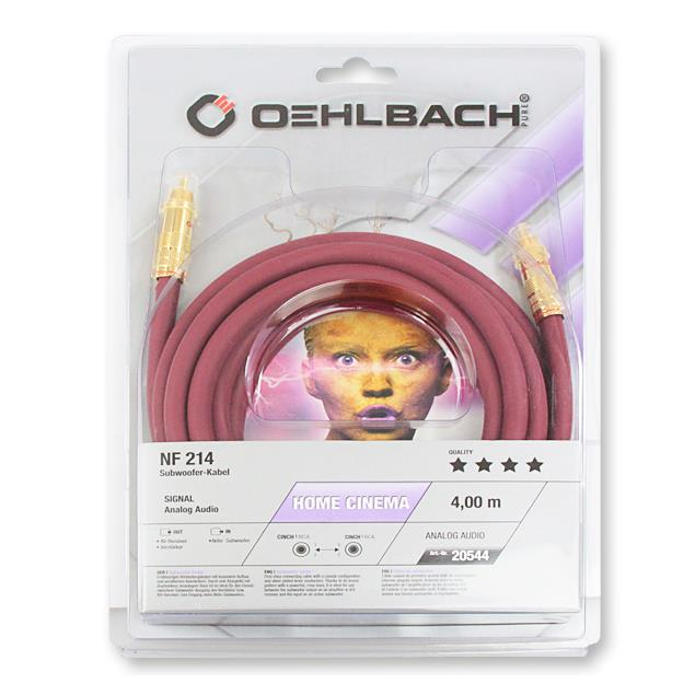Oehlbach 20544 - NF 214 Sub - Subwoofer cinch cable 1 x RCA to 1 x RCA (4,0 m / bordeaux red/gold / 1 piece)