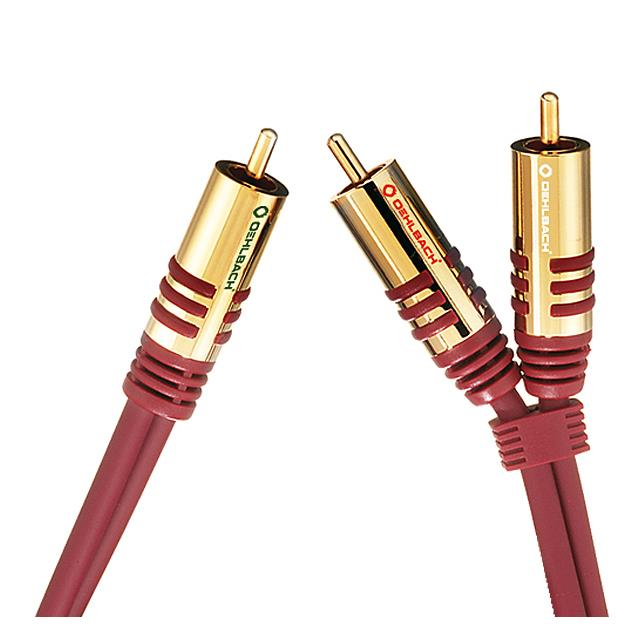 Oehlbach 20567 - NF Y-Sub - Subwoofer Y-cinch cable 1 x RCA to 2 x RCA  (8,0 m / red/gold)