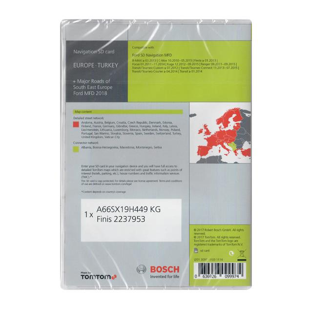 Tele Atlas Europe + MRSEE (Major Roads of South East Europe) - 103 1116 - SD Navigation MFD 2018 (1 x SD) for FORD (Focus / C-Max / B-Max / Ranger / Transit)