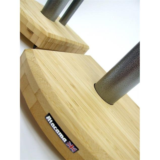 Atacama Moseco 6 - loudspeaker stands (615 mm / black & base plate made of light bamboo solid wood = natural bamboo / 1 pair)